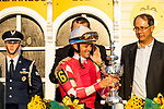 MAY 15, 2021: Flavien Prat after wining the Preakness Stakes at Pimlico Racecourse in Baltimore, Maryland on May 15, 2021. EversEclipse Sportswire/CSM