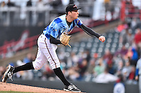 Richmond Flying Squirrels starting pitcher Matt Gage (53) delivers a pitch during a game against the Hartford Yard Goats at The Diamond on April 30, 2016 in Richmond, Virginia. The Yard Goats defeated the Flying Squirrels 5-1. (Tony Farlow/Four Seam Images)