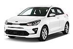 2021 KIA Rio More 5 Door Hatchback Angular Front automotive stock photos of front three quarter view