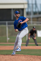 Chicago Cubs relief pitcher Jake Stinnett (41) delivers a pitch to the plate during a Minor League Spring Training game against the Oakland Athletics at Sloan Park on March 13, 2018 in Mesa, Arizona. (Zachary Lucy/Four Seam Images)