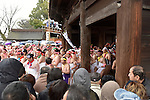 February  20th, 2016, Inazawa, Japan - Participants of the Naked Man festival running through the main gate of  Konomiya Shrine on Saturday, February  20, 2016.<br /> The festival organised by Konomiya Shrine, takes place annually on the 13th day of the new year of the lunar calendar. It is one of the oldest festivals in Japan. Since the old days, the participants are men only, mostly of the ages 24, 42 and 61, which are considered unlucky in Japan. By taking part in the festival they are hoping to avoid the bad luck throughout the coming year. (Photo by Julian Krakowiak/Aflo)
