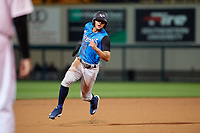 Tampa Tarpons center fielder Pablo Olivares (7) running the bases during a Florida State League game against the Lakeland Flying Tigers on April 5, 2019 at Publix Field at Joker Marchant Stadium in Lakeland, Florida.  Lakeland defeated Tampa 5-3.  (Mike Janes/Four Seam Images)