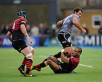 Bismarck du Plessis of Sharks is tackled by Michael Tagicakibau of Saracens during the Sanlam Private Investments Shield match between Saracens and the Cell C Sharks at Allianz Park on Saturday 25th January 2014 (Photo by Rob Munro)