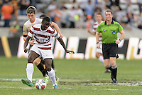 Houston, TX - Friday December 11, 2016: Adrian Alabi (17) of the Stanford Cardinal looks to pass the ball against the Wake Forest Demon Deacons  at the NCAA Men's Soccer Finals at BBVA Compass Stadium in Houston Texas.