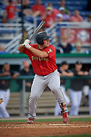 State College Spikes Pedro Pages (43) at bat during a NY-Penn League game against the Batavia Muckdogs on July 2, 2019 at Dwyer Stadium in Batavia, New York.  Batavia defeated State College 1-0.  (Mike Janes/Four Seam Images)