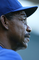 Texas Rangers Manager Ron Washington during batting practice before a game against the Los Angeles Angels in a 2007 MLB season game at Angel Stadium in Anaheim, California. (Larry Goren/Four Seam Images)