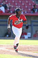 Jabari Henry #5 of the High Desert Mavericks runs to first base during a game against the Modesto Nuts at Heritage Field on June 29, 2014 in Adelanto, California. High Desert defeated Modesto, 6-1. (Larry Goren/Four Seam Images)