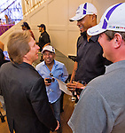 October 27, 2014: Trainer Dallas Stewart talks with retired jockey Angel Cordero and Cigar Street owners Rashard Lewis and Jake Ballis at the post position draw for the Breeders' Cup at Santa Anita Park in Arcadia, CA. Scott Serio/ESW/CSM