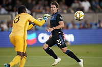 SAN JOSE, CA - SEPTEMBER 25: Carlos Fierro #21 of the San Jose Earthquakes watches as Andre Blake #18 of the Philadelphia Union catches the ball during a Major League Soccer (MLS) match between the San Jose Earthquakes and the Philadelphia Union on September 25, 2019 at Avaya Stadium in San Jose, California.
