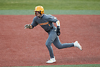 Drew Gilbert (1) of the Tennessee Volunteers takes off for second base during the game against the Charlotte 49ers at Hayes Stadium on March 9, 2021 in Charlotte, North Carolina. The 49ers defeated the Volunteers 9-0. (Brian Westerholt/Four Seam Images)