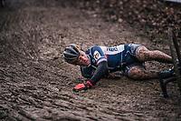 Francis Mourey (FRA) crashing<br /> <br /> Elite Men's Race<br /> UCI CX Worlds 2018<br /> Valkenburg - The Netherlands