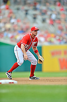 22 July 2012: Washington Nationals third baseman Ryan Zimmerman in action against the Atlanta Braves at Nationals Park in Washington, DC. The Nationals defeated the Braves 9-2 to split their 4-game weekend series. Mandatory Credit: Ed Wolfstein Photo