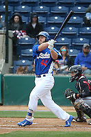 Joey Curletta (44) of the Rancho Cucamonga Quakes bats against the Lake Elsinore Storm at LoanMart Field on April 10, 2016 in Rancho Cucamonga, California. Lake Elsinore defeated Rancho Cucamonga, 7-6. (Larry Goren/Four Seam Images)