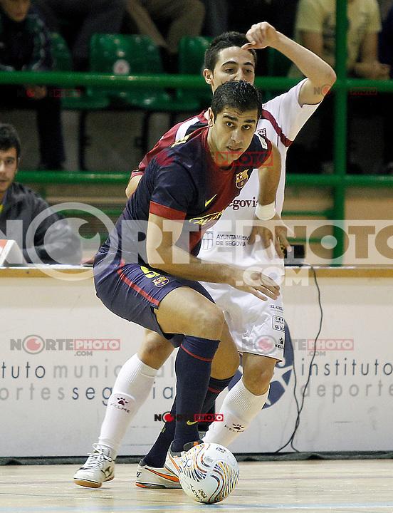 Caja Segovia's Pablo del Moral (b) and FC Barcelona Alusport's Gabriel Da Silva during Spanish National Futsal League match.November 24,2012. (ALTERPHOTOS/Acero) /NortePhoto