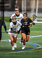 17 April 2021: University of Vermont Catamount Defender Camille Argentieri, a Sophomore from Syracuse, NY, in action against the UMBC Retrievers at Virtue Field in Burlington, Vermont. The Lady Cats fell to the Retrievers 11-8 in the America East Women's Lacrosse matchup. Mandatory Credit: Ed Wolfstein Photo *** RAW (NEF) Image File Available ***