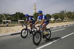 Garmin-Cervelo team riders Robert Hunter (RSA) and Thomas Dekker (NED) before the start of the 3rd Stage of the 2012 Tour of Qatar running 146.5km from Dukhan Souq, Dukhan to Al Gharafa, Qatar. 7th February 2012.<br /> (Photo Eoin Clarke/Newsfile)