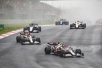 10th October 2021; Formula 1 Turkish Grand Prix 2021 Race Day Istanbul Park Circuit, Istanbul, Turkey;  99 GIOVINAZZI Antonio ita, Alfa Romeo Racing ORLEN C41 and 07 RAIKKONEN Kimi fin, Alfa Romeo Racing ORLEN C41