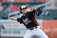 Aberdeen IronBirds starting pitcher Michael Baumann (26) in action against the Hudson Valley Renegades at Leidos Field at Ripken Stadium on July 27, 2017 in Aberdeen, Maryland.  The Renegades defeated the IronBirds 2-0 in game one of a double-header.  (Brian Westerholt/Four Seam Images)