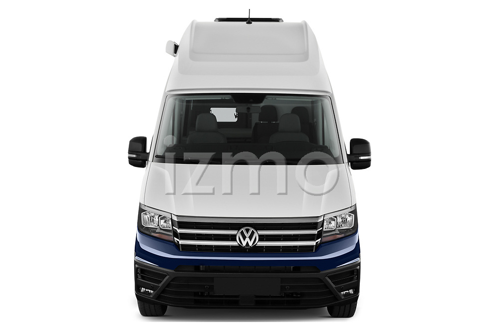 Car photography straight front view of a 2020 Volkswagen Grand-California 600 4 Door Refrigerated Van Front View