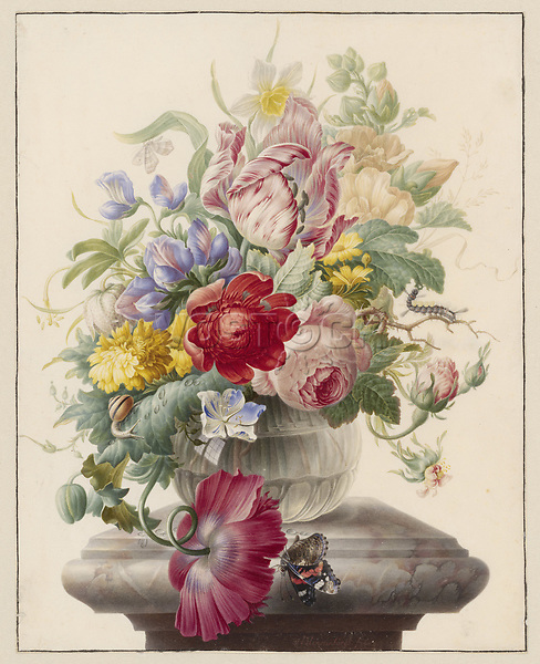 Flowers in Vase - by Herman Henstenburgh, 1700