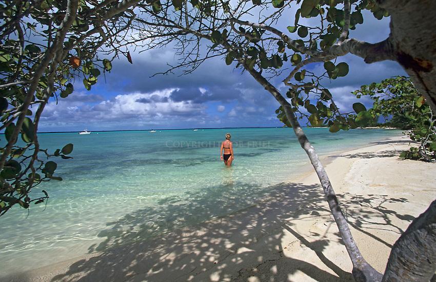 Girl on beach, Andros Island, Bahamas, Out Islands