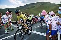 Yellow Jersey Adam Yates (AUS/Mitchelton-Scott) up the Col de Peyresourde <br /> <br /> Stage 8 from Cazères-sur-Garonne to Loudenvielle 141km<br /> 107th Tour de France 2020 (2.UWT)<br /> (the 'postponed edition' held in september)<br /> ©kramon