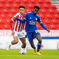 9th January 2021; Bet365 Stadium, Stoke, Staffordshire, England; English FA Cup Football, Carabao Cup, Stoke City versus Leicester City; Wilfred Ndidi of Leicester City under pressure from Jacob Brown of Stoke City
