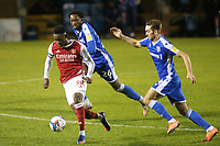 Flo Balogun of Arsenal U21's in possession as Gillingham's Christian Maghoma and Rob McKenzie look on during Gillingham vs Arsenal Under-21, Papa John's Trophy Football at the MEMS Priestfield Stadium on 10th November 2020