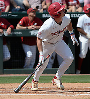 Arkansas third baseman Cayden Wallace hits a three-run home run Friday, June 4, 2021, during the fourth inning of the Razorbacks' 13-8 win over New Jersey Institute of Technology in the first game of the NCAA Fayetteville Regional at Baum-Walker Stadium in Fayetteville. Visit nwaonline.com/210605Daily/ for today's photo gallery.<br /> (NWA Democrat-Gazette/Andy Shupe)