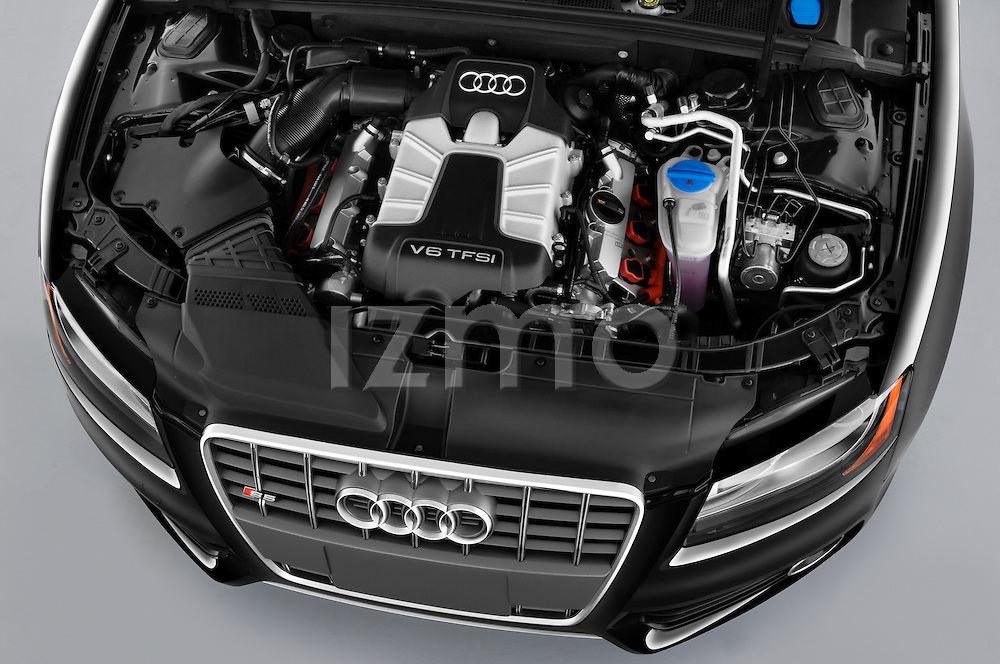 High angle engine detail of a 2010 - 2011 Audi S5 Cabriolet