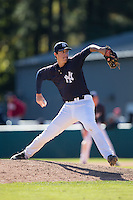 Tyler Morgan (29) of Hanover High School in Mechanicsville, Virginia playing for the New York Yankees scout team at the South Atlantic Border Battle at Doak Field on November 2, 2014.  (Brian Westerholt/Four Seam Images)