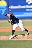 Asheville Tourists starting pitcher Alfredo Garcia (26) delivers a pitch during a game against the West Virginia Power at McCormick Field on June 1, 2019 in Asheville, North Carolina. The  Tourists defeated the Power 16-1. (Tony Farlow/Four Seam Images)