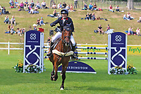 5th September 2021; Bicton Park, East Budleigh Salterton, Budleigh Salterton, United Kingdom: Bicton CCI 5* Equestrian Event; Pippa Funnell riding Billy Walk On celebrates her clear round and placed second
