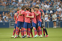 KANSAS CITY, KS - JULY 31: FC Dallas players in a pre match huddle during a game between FC Dallas and Sporting Kansas City at Children's Mercy Park on July 31, 2021 in Kansas City, Kansas.