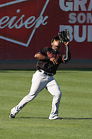 Burt Reynolds (23) of the Bakersfield Blaze catches a fly ball during a game against the Rancho Cucamonga Quakes at LoanMart Field on June 1, 2015 in Rancho Cucamonga, California. Rancho Cucamonga defeated Bakersfield, 5-2. (Larry Goren/Four Seam Images)