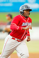 Larry Greene Jr. (14) of the Lakewood BlueClaws hustles towards third base against the Kannapolis Intimidators at CMC-Northeast Stadium on August 13, 2013 in Kannapolis, North Carolina.  The Intimidators defeated the BlueClaws 12-8.  (Brian Westerholt/Four Seam Images)