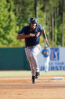 Potomac Nationals third baseman Drew Ward (17) running the bases during a game against the Myrtle Beach Pelicans at Ticketreturn.com Field at Pelicans Ballpark on May 23, 2015 in Myrtle Beach, South Carolina.  Myrtle Beach defeated Potomac 7-3. (Robert Gurganus/Four Seam Images)