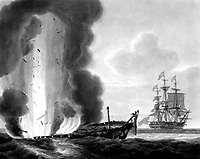 The Java in a Sinking state, set fire to, & Blowing up.  The Constitution at a distance...repairing her Rigging &c. in the Evening of 29th Decr. 1812.  Copy of aquatint by N. Pocock, engraved by R. & D. Havell after sketch by Lt. Buchanan, 1814. (OWI)<br /> NARA FILE #:  208-LU-25H-6<br /> WAR & CONFLICT BOOK #:  81