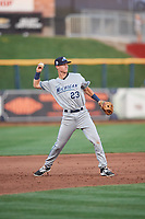 West Michigan Whitecaps third baseman Cam Warner (23) throws to first base during a game against the Quad Cities River Bandits on July 22, 2018 at Modern Woodmen Park in Davenport, Iowa.  West Michigan defeated Quad Cities 6-4.  (Mike Janes/Four Seam Images)
