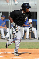 Bristol White Sox center fielder Courtney Hawkins #34 runs to first during a game against the Kingsport Mets at Hunter Wright Stadium on July 28, 2012 in Kingsport, Tennessee. The Mets defeated the White Sox 9-5. (Tony Farlow/Four Seam Images).