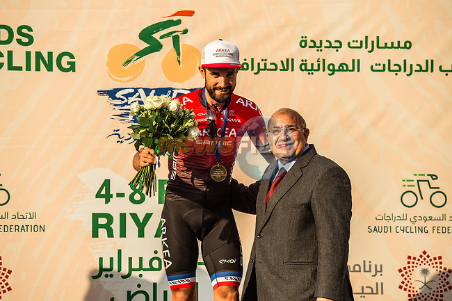Red Jersey Nacer Bouhanni (FRA) Team Arkea-Samsic wins Stage 4 of the Saudi Tour 2020 running 137km from Wadi Namar Park to Al Muzahimiyah King Saud University, Saudi Arabia. 7th February 2020. <br /> Picture: ASO/Kåre Dehlie Thorstad   Cyclefile<br /> All photos usage must carry mandatory copyright credit (© Cyclefile   ASO/Kåre Dehlie Thorstad)