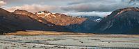 Sunrise over Waimakariri River flats and Southern Alps, Arthur's Pass National Park, South Westland, South Island, New Zealand, NZ