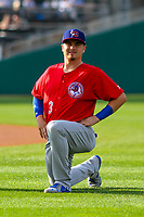 Buffalo Bisons catcher Reese McGuire (3) warms up in the outfield prior to an International League game against the Indianapolis Indians on July 28, 2018 at Victory Field in Indianapolis, Indiana. Indianapolis defeated Buffalo 6-4. (Brad Krause/Four Seam Images)