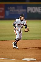 Aberdeen IronBirds third baseman Willy Yahn (6) during a game against the Tri-City ValleyCats on August 27, 2018 at Joseph L. Bruno Stadium in Troy, New York.  Aberdeen defeated Tri-City 11-5.  (Mike Janes/Four Seam Images)