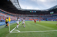 LYON, FRANCE - JULY 07: Alex Morgan and Ali Krieger during a game between Netherlands and USWNT at Stade de Lyon on July 07, 2019 in Lyon, France.