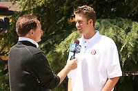 6 June 2006: Stanford pitcher Greg Reynolds is interviewed by Channel 7 after he was selected the second overall pick in the Major League Baseball draft by the Colorado Rockies. Reynolds became the highest draft pick in Stanford history.