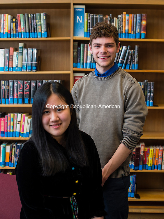 WINSTED, CT- 18 May 2016-051816EC13-  Valedictorian Cassius Pac and Salutatorian Vivian Qian were officially introduced to education leaders at the The Gilbert School Wednesday night. Education officials gathered to dedicate a room to longtime Gilbert teacher John Higgins. Erin Covey Republican-American