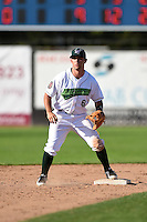 Jamestown Jammers second baseman Erik Lunde (6) waits for a throw during a game against the Mahoning Valley Scrappers on June 15, 2014 at Russell Diethrick Park in Jamestown, New York.  Jamestown defeated Mahoning Valley 9-4.  (Mike Janes/Four Seam Images)