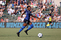 CARY, NC - SEPTEMBER 12: Taylor Smith #2 of the North Carolina Courage plays the ball during a game between Portland Thorns FC and North Carolina Courage at Sahlen's Stadium at WakeMed Soccer Park on September 12, 2021 in Cary, North Carolina.