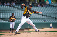 Salt Lake Bees starting pitcher Nate Smith (18) delivers a pitch to the plate against the Omaha Storm Chasers in Pacific Coast League action at Smith's Ballpark on August 16, 2015 in Salt Lake City, Utah. Omaha defeated Salt Lake 11-4. (Stephen Smith/Four Seam Images)
